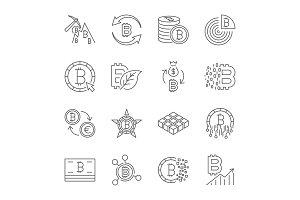 Icon set, bitcoin crypto innovation