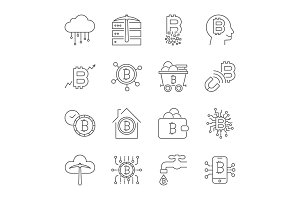 Bitcoin icons set. Digital currency