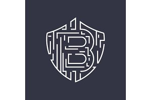 Bitcoin vector logo. Editable Stroke