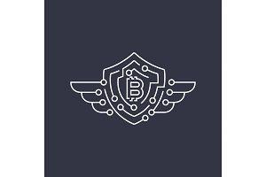 Bitcoin logo. The concept of