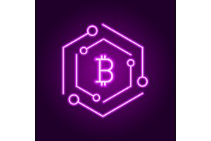 Blockchain technology modern icon