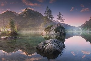 Hintersee lake in Bavarian Alps