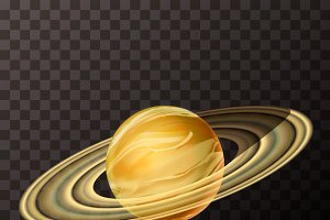 Bright realistic Saturn with texture