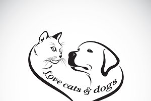 Vector of a dog head and cat head.