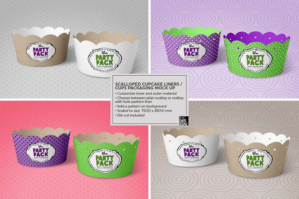Cupcake Cups Packaging Mockup