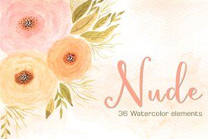 NUDE - 36 Watercolor Floral Elements