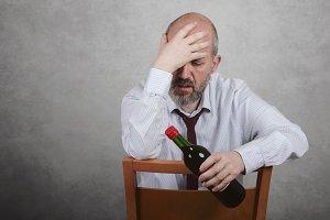 Businessman depressed alcohol addict