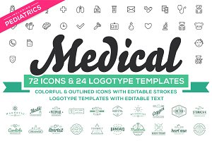 Medical Pediatrics Icons & Logos Set
