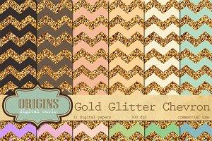 Gold Glitter Chevron Digital Paper
