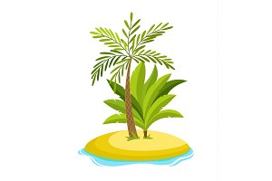 Tropical palm on island with sea