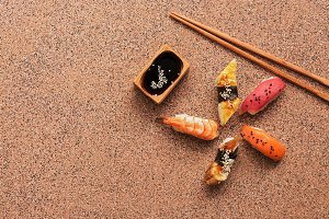 Assorted sushi set on a brown stone