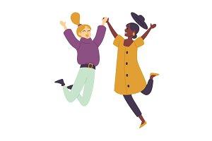 happy dancing people female dancers