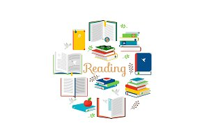 Reading concept with isometric style