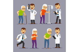 Doctors and elderly people, medicine