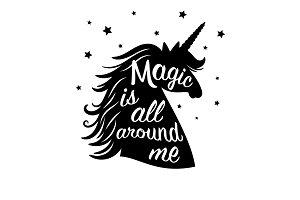 Silhouette of unicorn, magic is all