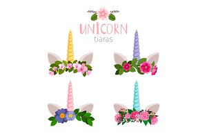 Unicorn tiaras with colored flowers