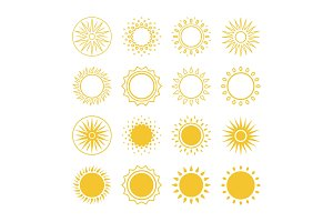 Line and silhouettes sun vector