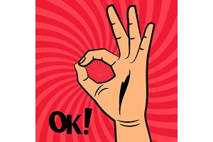 OK sign comic pop art style vector