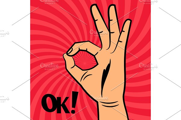 OK sign comic pop art style vector