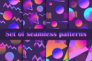 Futurism seamless pattern set