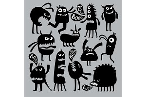 Abstract kids fear monster character