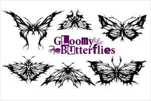 Gloomy Butterflies - vector set -