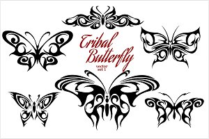 Set of symmetric butterfly tattoos.