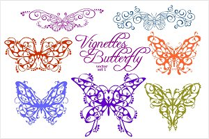 Abstract floral butterflies isolated