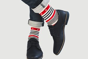 Men's legs, bright socks with and