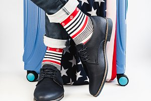 Stylish suitcase, US Flag, men's