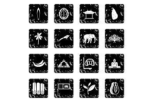 Sri Lanka travel icons set