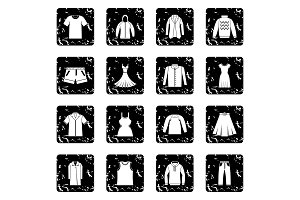 Different clothes icons set