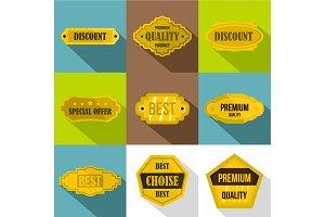 Label icons set, flat style