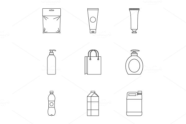 Container icons set, outline style