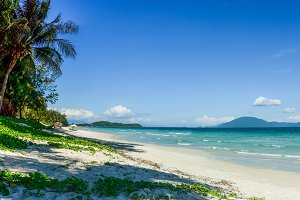 View of a tropical beach with blue