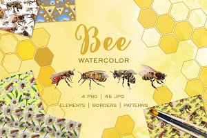 Bee Watercolor png