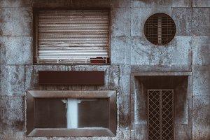 A dark facade of a residential house