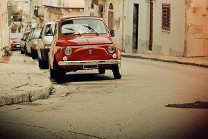 Red Fiat 500, vintage