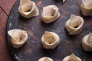 Raw wonton, Chinese dish made from d