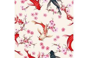 Garden koi seamless pattern