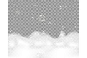 Soap foam on transparent background