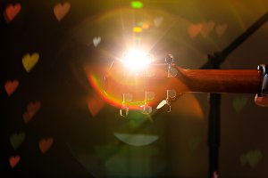 Guitar & hearts light flare effects