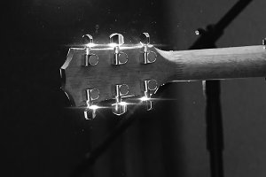 Back view of guitar headstock