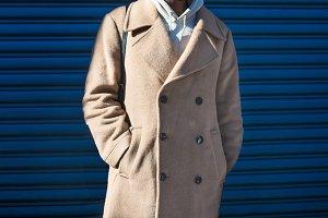 Men`s beige cashmere wool jacket