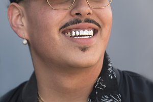 Platinum silver jewelry front teeth