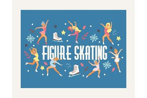 Figure skating vector backdrop girl