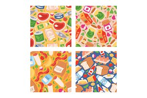 Food vector seamless pattern meal