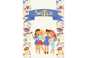 Selfie girl vector beautiful woman