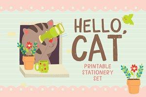 Hello, Cat Stationery