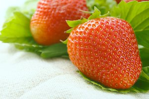 Strawberries on beige napkin